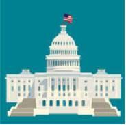 United States Capitol symbol of America architecture white house building vector cartoon graphics American USA us flag on the building